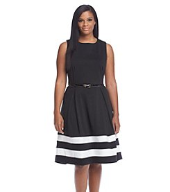 Calvin Klein Plus Size Striped Fit And Flare Dress