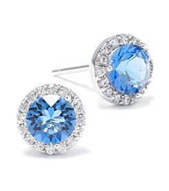 Silver-Plated Blue Swarovski® Stud with Cubic Zirconia Halo Earrings