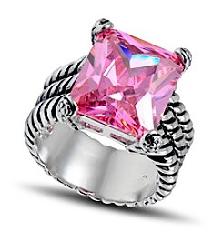 Designs by FMC Silver-Plate Cable Pink Cubic Zirconia Ring