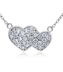 Designs by FMC Sterling Silver & Cubic Zirconia Small Pavé Double Hearts Pendant Necklace
