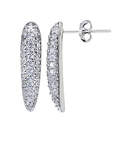 Designs by FMC Sterling Silver & Cubic Zirconia Pavé Small Linear Curved Dagger Earrings