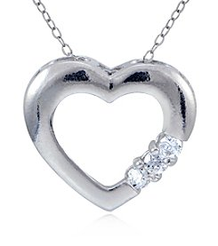 Designs by FMC Sterling Silver & Cubic Zirconia Open Heart Slide Pendant Necklace