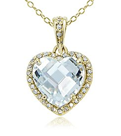 Designs by FMC 18K Gold Plate over Sterling Silver & Cubic Zirconia Halo Heart Pendant Necklace