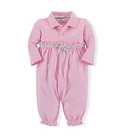 Ralph Lauren® Baby Girls' Solid Interlock Coveralls