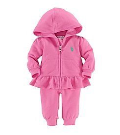 Ralph Lauren® Baby Girls' Bermuda Pink Fleece Hook-Up