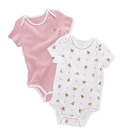 Ralph Lauren® Baby Girls' 2-Pack Bear Printed and Paisley Stripe Bodysuits