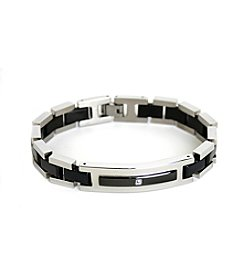 Men's Stainless Steel Black Enamel Bracelet
