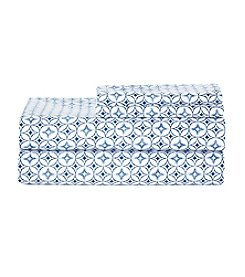 LivingQuarters Easy Care Blue Print Microfiber Sheet Set