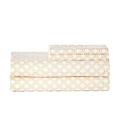 LivingQuarters Easy Care Yellow Trellis Microfiber Sheet Set