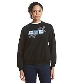 Morning Sun® Petites' Triple Snowflake Patch Fleece Sweatshirt