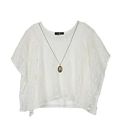 Amy Byer Girls' 7-16 Poncho Wing Sleeve Top