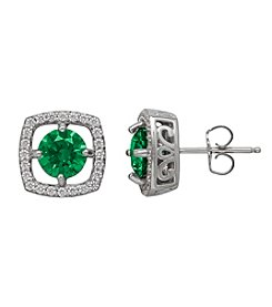 Balentino® Sterling Silver Green and White Swarovski® Cubic Zirconia Stud Earrings