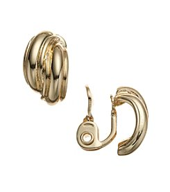 Napier® Goldtone Button Clip Earrings