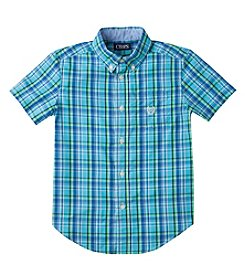 Chaps® Boys' 2T-20 Short Sleeve Plaid Woven Shirt