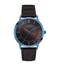 Guess Men's Blue and Brown Casual Analog Watch