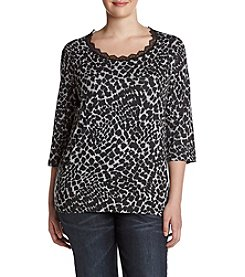 Laura Ashley® Plus Size Blurry Animal Print Top