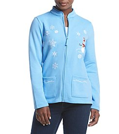 Breckenridge® Petites' Mandarin Collar Embellished Fleece Cardigan