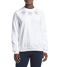 Morning Sun® Petites' Leaf Collection Fleece Sweatshirt
