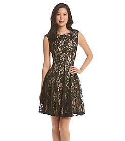 Julian Taylor Seamed Lace Fit And Flare Dress