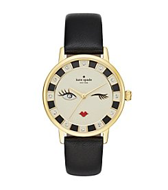 kate spade new york® Women's Goldtone Metro Wink Black Leather Watch