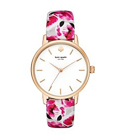 kate spade new york® Women's Goldtone Metro Rose Print Leather Watch