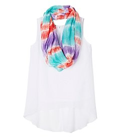 Amy Byer Girls' 7-16 High Low Tank With Scarf