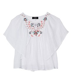 Amy Byer Girls' 7-16 Short Sleeve Poncho Layered Top