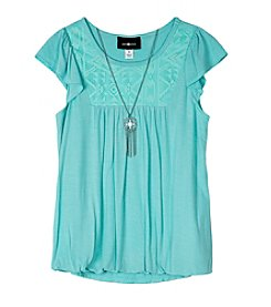 Amy Byer Girls' 7-16 Lace Top Blouse