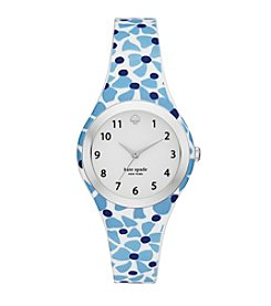 kate spade new york® Women's Silvertone Rumsey Alice Bow Print Silicone Watch