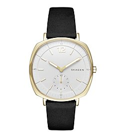 Skagen Women's Goldtone Rungsted Watch With Black Leather Band