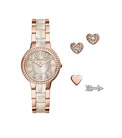 Fossil Women's 30mm Virginia Rose Goldtone Watch and Earrings Set