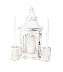 Personalized Heart Rustic Unity Lantern with Two Candle Holders