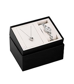 Bulova® Women's Swarvoski® Crystal Box Set With Heart Pendant Necklace