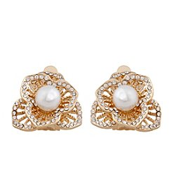 Erica Lyons® Goldtone 3D Flower Clip Earrings