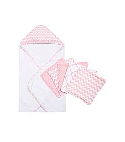Trend Lab Pink Sky 6 Piece Chevron Hooded Towel and Wash Cloth Set