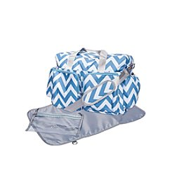 Trend Lab Blue and White Chevron Deluxe Duffle Diaper Bag