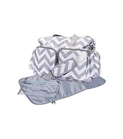 Trend Lab Grey and White Chevron Deluxe Duffle Diaper Bag