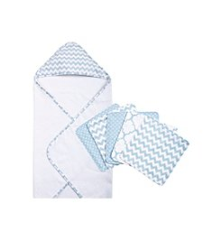 Trend Lab Blue Sky 6 Piece Chevron Hooded Towel and Wash Cloth Set