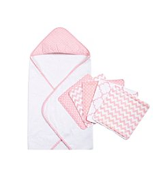 Trend Lab Pink Sky 6-pc. Dot Hooded Towel and Wash Cloth Set