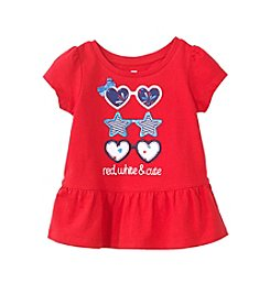 Mix & Match Baby Girls' Short Sleeve Sunglasses Printed Peplum Tee
