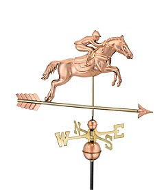 Good Directions® Polished Copper Jumping Horse & Rider Weathervane
