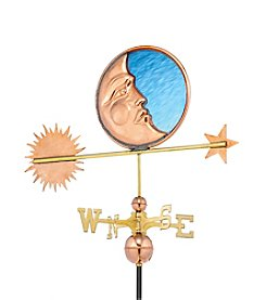 Good Directions® Polished Copper Stained Glass Moon Weathervane