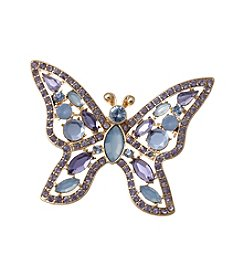 Napier® Boxed Goldtone, Blue And Purple Butterfly Pin