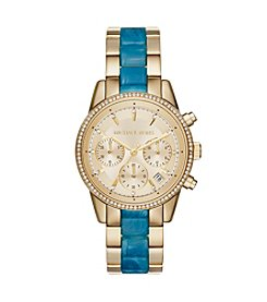 Michael Kors® Womens Ritz Goldtone And Blue Acetate Chrono Watch