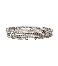 Nine West® Silvertone and Crystal Set of Three Coil Bracelets