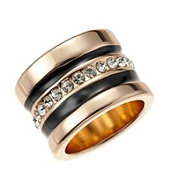 GUESS Goldtone Crystal Accent Band Ring