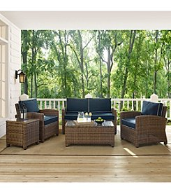 Crosley Furniture Bradenton 5-pc. Outdoor Wicker Conversation Set with Navy Cushions
