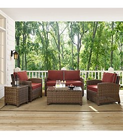 Crosley Furniture Bradenton 5-pc. Outdoor Wicker Conversation Set with Sangria Cushions