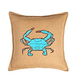 Greendale Home Fashions Crab Applique Burlap Decorative Pillow
