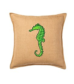 Greendale Home Fashions Seahorse Applique Burlap Decorative Pillow